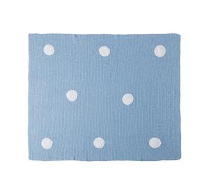 Manta de crochet hecha a mano, azul - 90x120 cm