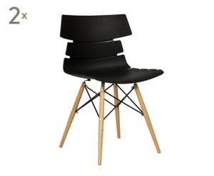 Set de 2 sillas de polietileno, metal y haya – negro
