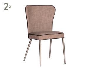 Set de 2 sillas de comedor tapizadas– gris con ribete negro