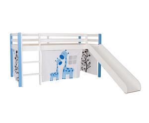Cama tobogán con somier Winona, azul – 202x102/222x109