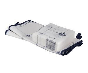 Set de 2 caminos de mesa y 25 servilletas de papel Northwind – Blanco y azul