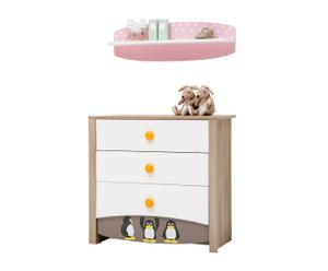 Set de cómoda y estante de pared Peny - rosa