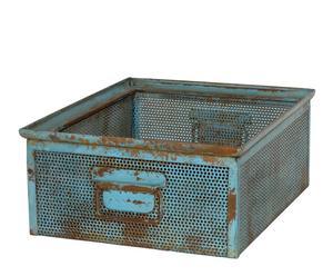 Caja de almacenaje en hierro rústico – azul envejecido