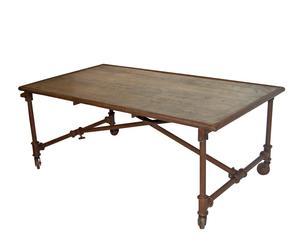 Mesa de centro con tablero antiguo de madera y hierro