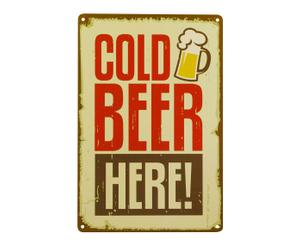 Placa decorativa de metal Cold beer