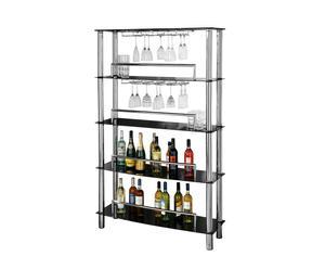 Estantería para copas y botellas en cromo y vidrio