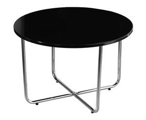 Mesa de centro en cristal y cromo - negro