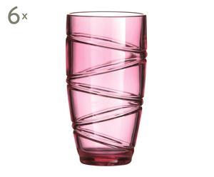 Set de 6 vasos de plástico - rosa
