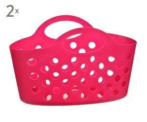 Set de 2 cestas en plástico – rosa