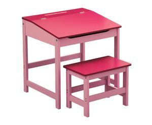 Set de escritorio y taburete infantil en DM - rosa