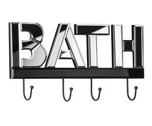 Perchero de pared Bath de metal y vidrio