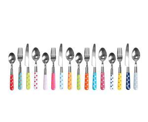 Set de 16 cubiertos de aluminio y plástico Lunares – multicolor