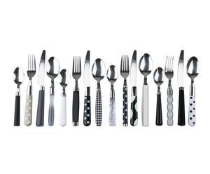 Set de 16 cubiertos de aluminio y plástico – blanco y negro