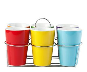 Set de 6 vasos altos de porcelana con soporte – multicolor