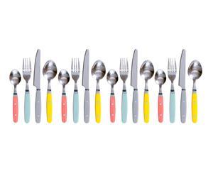 Juego de 16 cubiertos de plástico y aluminio - multicolor