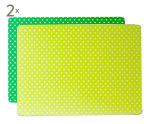 Set de 2 manteles individuales Mini Dots – verde y lima