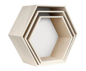 Set de 3 estantes exagonales I - blanco
