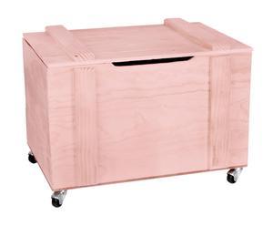Baúl en madera de pino con ruedas - rosa