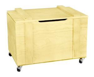 Baúl de madera de pino con ruedas – amarillo