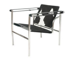 Silla con reposabrazos de acero cromado Corbusier – blanco y negro
