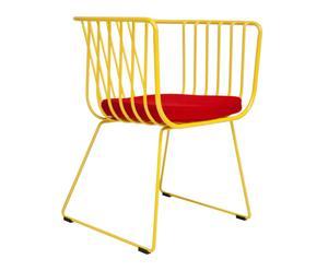 Silla de acero Basket – amarillo y rojo