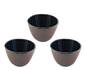 Set de 3 vasos en hierro colado – grises