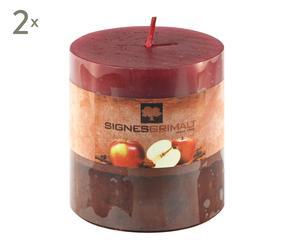 Set de 2 velas hechas a mano, manzana y canela - pequeñas