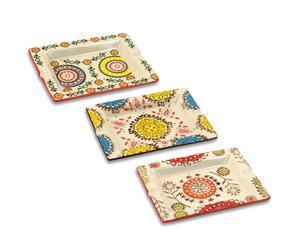 Set de 3 ceniceros en cerámica, multicolor - pequeños