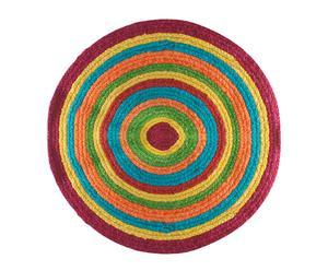 Alfombra hecha a mano en algodón 100%, multicolor - Ø82
