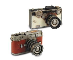 Set de 2 cámaras de fotos en resina – blanco y rojo