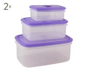 Set de 6 fiambrera de plástico – lila