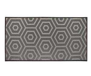 Alfombra de interior y exterior Geometría, negro y gris – 60x90