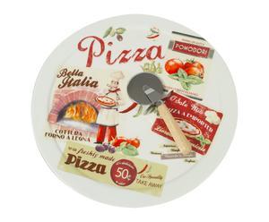 Plato de porcelana para pizza con cortador