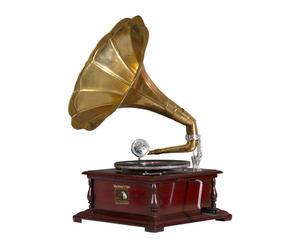 Gramófono cuadrado en latón y madera - oro y marrón