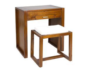 Set de mueble tocador y banqueta en madera de mindi – nogal