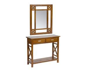 Recibidor con consola y espejo en madera