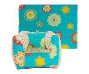 Set de cabecero y sillón infantil de algodón – azul