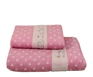 Set de 2 toallas Patitos - rosa