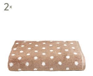 Set de 2 toallas de lavabo Polka Dots –piedra