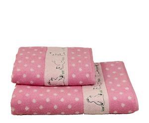 Set de 1 toalla de lavabo y 1 toalla de ducha Ositos - rosa
