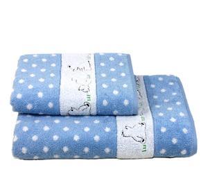 Set de 1 toalla de lavabo y 1 toalla de ducha Ositos - azul celeste