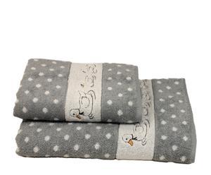 Set de 1 toalla de lavabo y 1 toalla de ducha Patitos - gris