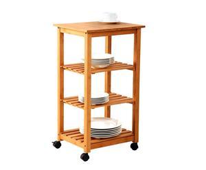 Estantería de bambú con ruedas con 4 estantes