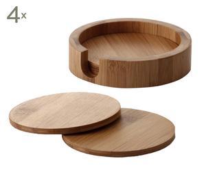 Set de 4 posavasos de bambú y soporte