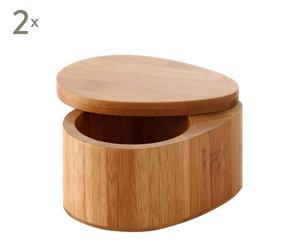 Set de 2 saleros de bambú ovales