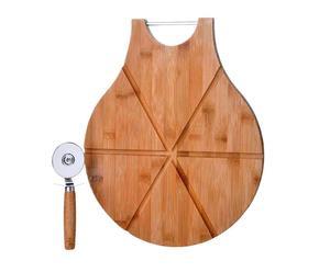 Set de tabla para cortar pizza y cortador