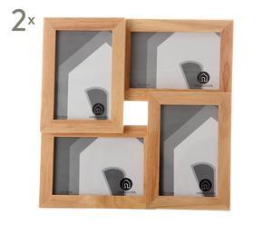 SET de 2 marcos de fotos múltiple en madera - 10X15