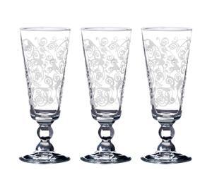 Set de 3 copas de champagne en vidrio – transparente