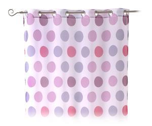 Visillo con anillas en poliéster Color Dots – lila