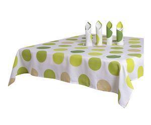 Set de 4 servilletas y un mantel de polialgodón Color Dots, verde – 140x140